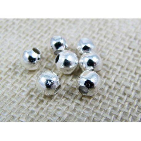 Intarpas skirtas papuošalų, rankdarbių gamybai, sidabro spalvos, apvalios formos 4 mm 100 vnt