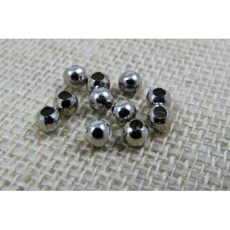 Intarpas skirtas papuošalų, rankdarbių gamybai, tamsios sidabro spalvos, apvalios formos 3 mm 10 vnt
