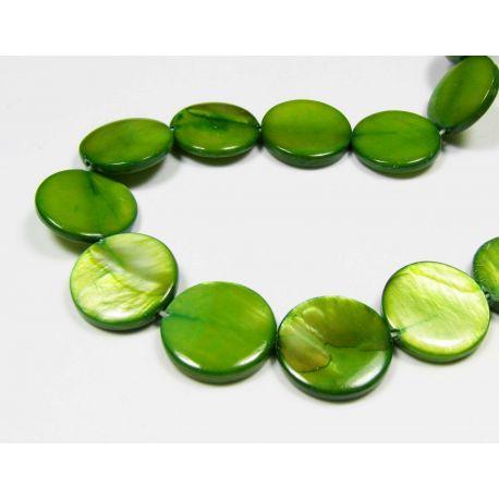 Perlų masės karoliukai, žalios spalvos, monetos formos, 12 mm