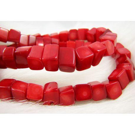 Natūralaus koralo karoliukų gija, raudonos spalvos, stačiakampio formos, 8-4x8-6 mm