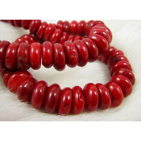 Koralo karoliukai - gija, ryškiai raudos spalvos, rondelės formos, dydis ~13x7 mm