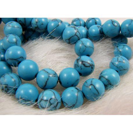 Sintetinio turkio karoliukai, mėlynos spalvos, apvalios formos, dydis 8 mm