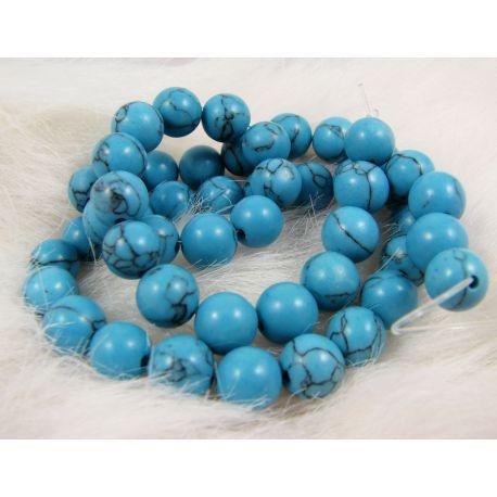 Sintetinio turkio karoliukai - gija, mėlynos spalvos, apvalios formos, dydis 8 mm