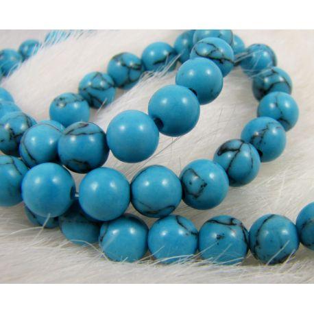 Sintetinio turkio karoliukai, mėlynos spalvos, apvalios formos, dydis 6 mm