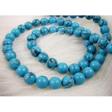 Sintetinio turkio karoliukai - gija, mėlynos spalvos, apvalios formos, dydis 6 mm