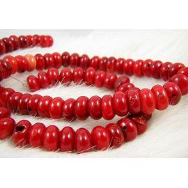 Koralo karoliukai, ryškiai raudos spalvos, rondelės formos, dydis ~10x5 mm
