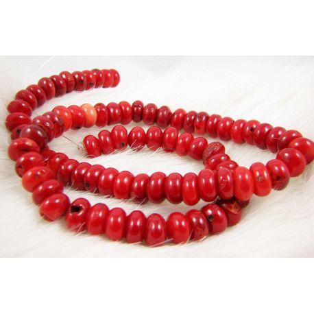 Koralo karoliukai - gija, raudos spalvos, rondelės formos, dydis ~10x5 mm