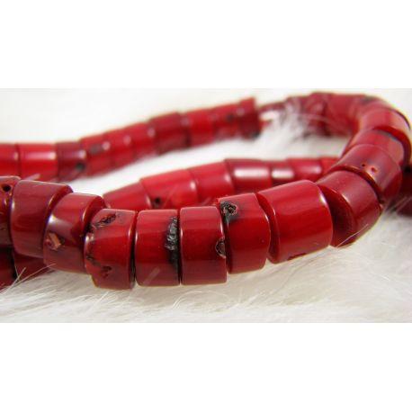 Koralo karoliukai - gija, raudos spalvos, rondelės formos kraštai neužapvalinti, dydis ~9x6 mm