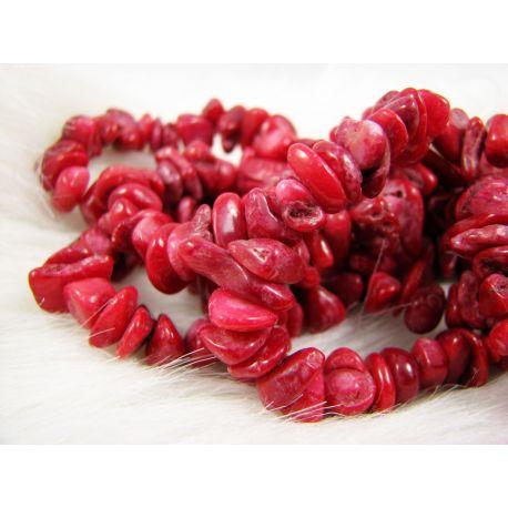 Koralo skaldos gija, raudonai rožinės spalvos, dydis 6-15x3-10 mm ilgis apie 84 cm
