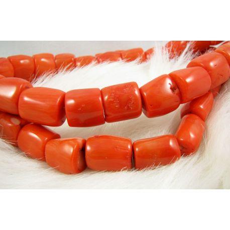 Koralo karoliukai - gija, rausvai oražinės spalvos, netaisyklingos vamzdelio formos, dydis 10-15x9-13 mm