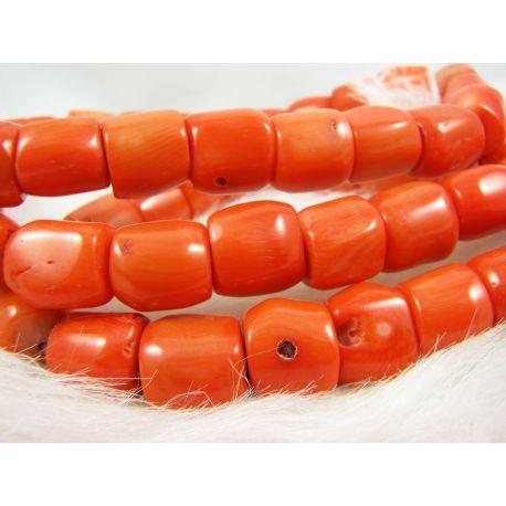 Koralo karoliukai - gija, rausvai oražinės spalvos, netaisyklingos vamzdelio formos, dydis 10-13x9-12 mm