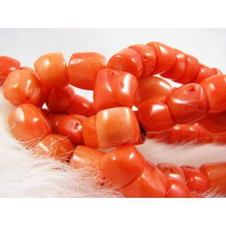 Koralo karoliukai - gija, rausvai oražinės spalvos, netaisyklingos vamzdelio formos, dydis 7-11x9x12 mm