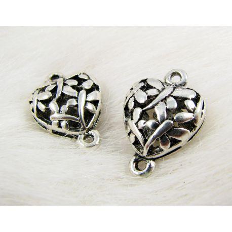 "Jewellery distributor ""Heart"", aged silver, 21x14 mm"