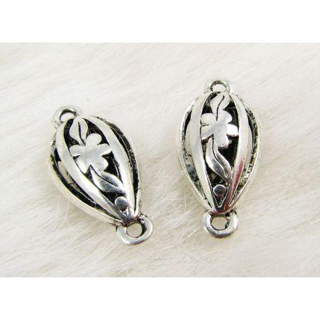 Jewellery distributor, aged silver, drop shape, 25x12 mm