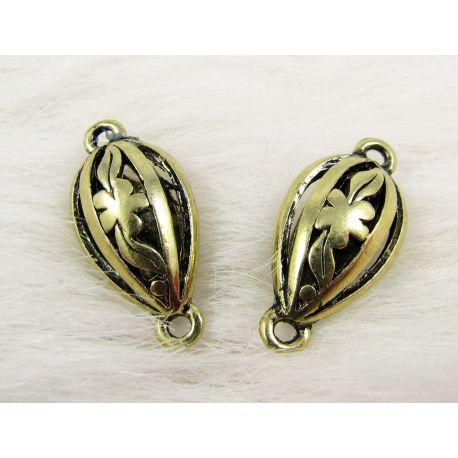 Paskirstytojas skirtas kaklo vėriniams, apyrankėms, rankdarbiams. Sendintos aukso spalvos, lašo formos, 2 kilpų, 25x12 mm dydžio