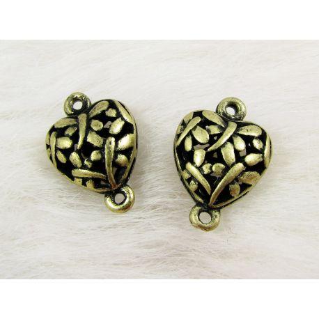 Paskirstytojas skirtas kaklo vėriniams, apyrankėms, rankdarbiams. Sendintos bronzinės spalvos, širdelės formos, 2 kilpų, 21x14 m