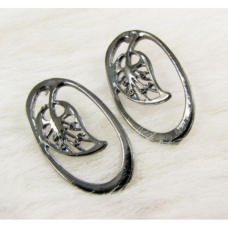 """Kabliukai auskarams """"Lapas"""", juodos spalvos, 34x19 mm dydžio 1 pora"""