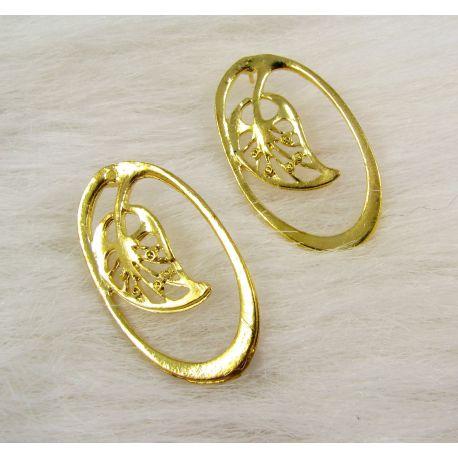Kabliukai skirti auskarų gamybai, aukso spalvos, dydis 34x19 mm 1 pora