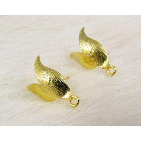 Kabliukai skirti auskarų gamybai, su viena kilpute, aukso spalvos, dydis 14x11x4 mm 1 pora
