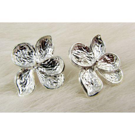 Kabliukai skirti auskarų gamybai, sidabro spalvos, dydis 24x22x3 mm 1 pora