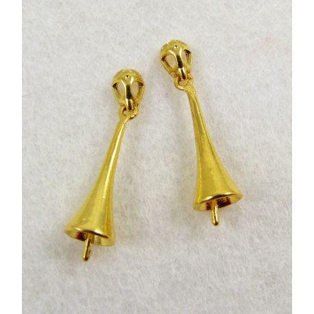 Laikiklis skirtas auskarams, pakabukams, pusiau gręžtam karoliukui, aukso spalvos, dydis apie 21x6 mm 1 vnt.