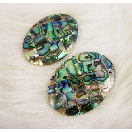 Abalone SHELL kabošonas, žalios - rusvos spalvos, margas, ovalo formos, dydis 40x30 mm