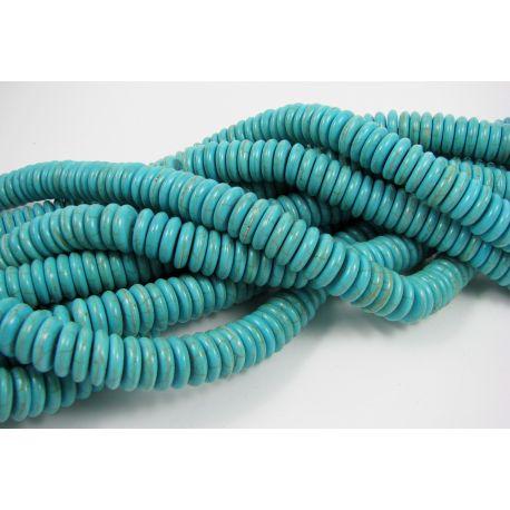 Sintetinio turkio karoliukai - gija, žydrai žalios spalvos, rondelės formos, dydis 12 mm