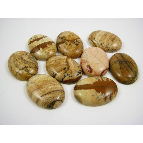 Paveikslinio Jaspio kabošonas, rausvos - rudos spalvos, ovalo formos, 30x22 mm