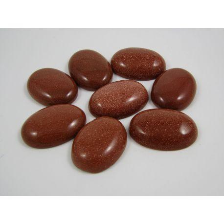Saulės akmens kabošonas, rudos spalvos, blizgus, ovalo formos, 30x22 mm
