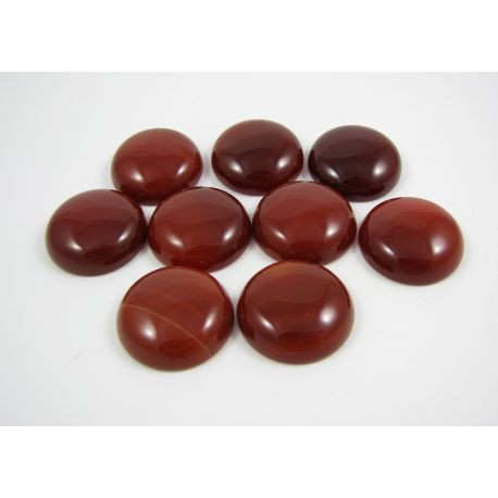 Agato kabošonas, rudai raudonos spalvos, apvalios formos, dydis 22 mm