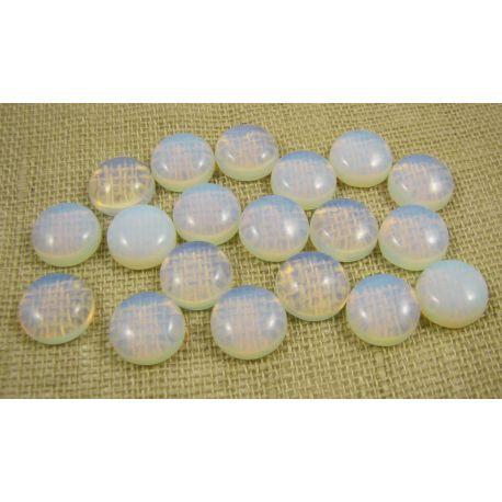 Opalito kabošonas, baltos spalvos, apvalios formos, dydis 12 mm