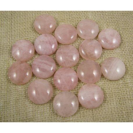 Kvarco kabošonas, šviesiai rožinės spalvos, apvalios formos, dydis 14 mm