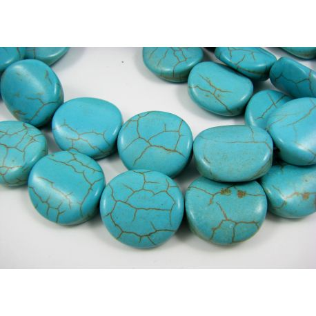 Sintetinio turkio karoliukai, žydros spalvos, monetos formos 19x18 mm