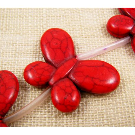 Sintetinio turkio karokiukai - drugelis, raudonos spalvos, dažytas, dydis 35x25 mm