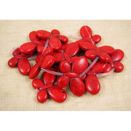 Sintetinio turkio drugelių gija, raudonos spalvos, dažytas, dydis 35x25 mm
