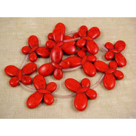 Sintetinio turkio karokiukai gija - drugelis, raudonai oranžinės spalvos, dažytas, dydis 35x25 mm