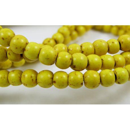 Sintetinio turkio karoliukai, geltonos spalvos, rondelės formos, dydis apie 3-4 mm, 10 vnt.