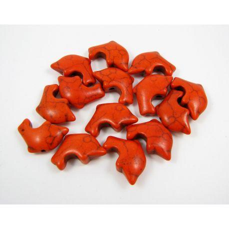 Sintetinio turkio karoliukai - delfinas, oranžinės spalvos, dydis 20x12 mm