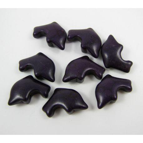 Sintetinio turkio karoliukai - delfinas, violetinės spalvos, dydis 20x12 mm