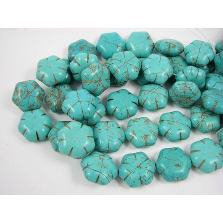 Sintetinio turkio karoliukai, žaliai žydros spalvos, gėlytės formos, dydis 19x9 mm