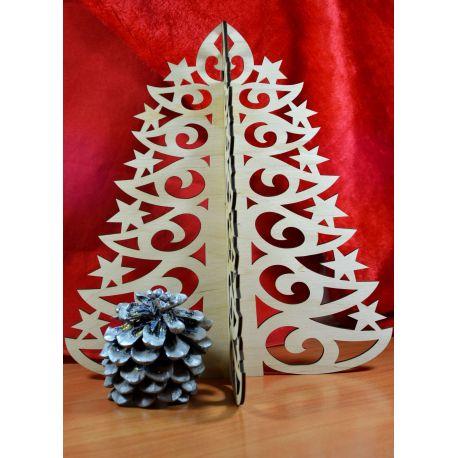 Kalėdinė eglutė išpjauta laserius iš 3 mm fanieros. Ivairių dydžių.
