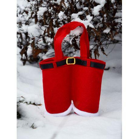 Kalėdų Senelio kelnės saldainiams, mažai dovanėlei, dydis apie 17x14 cm