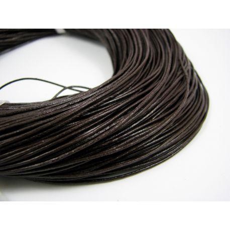 Natūralios odos virvelė, tamsios rudos spalvos, storis apie 1 mm