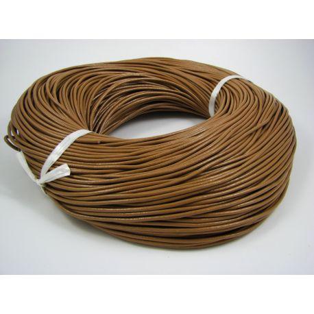 Natūralios odos virvutė, šviesiai rudos spalvos, apvalios formos, storis apie 2 mm, 1 metras