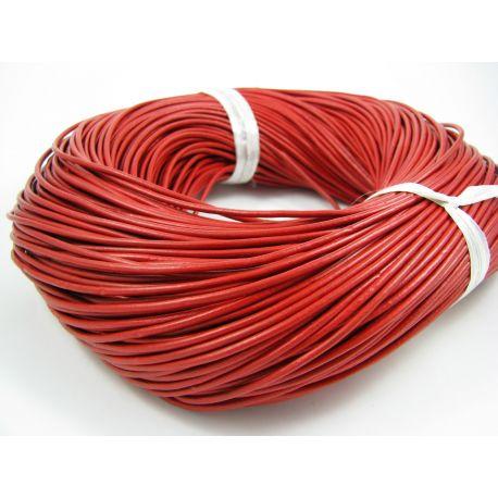 Natūralios odos virvutė, ryškiai raudonos spalvos, apvali, storis apie 2 mm, 1 metras