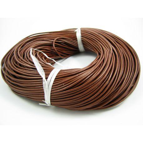 Natūralios odos virvutė, rudos spalvos, apvalios formos, storis apie 2 mm, 1 metras