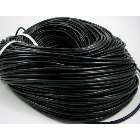 Natūralios odos virvutė, juodos spalvos, apvalios formos, storis apie 3 mm, 1 metras