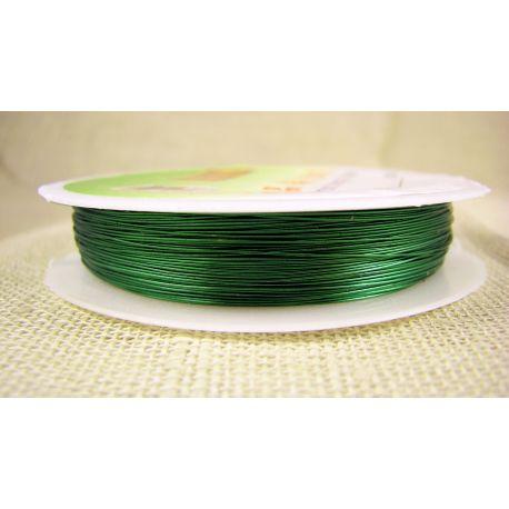 Žalvarinė vielutė, žalios spalvos, storis apie 0.30 mm, apie 28 metrus
