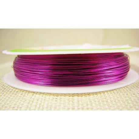 Žalvarinė vielutė rankdarbiams, papuošalams, ryškiai rožinės spalvos, storis apie 0.30 mm, ritėje apie 28 metrus
