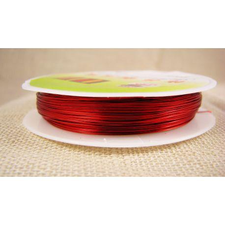 Žalvarinė vielutė, raudonos spalvos, storis apie 0.30 mm, apie 28 metrus